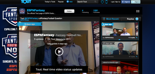ESPN uses TOUT with Fantasy Football